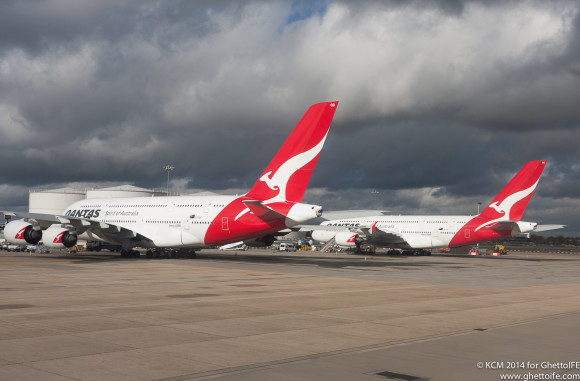 Qantas A380s at London Heathrow - Image (c) GhettoIFE