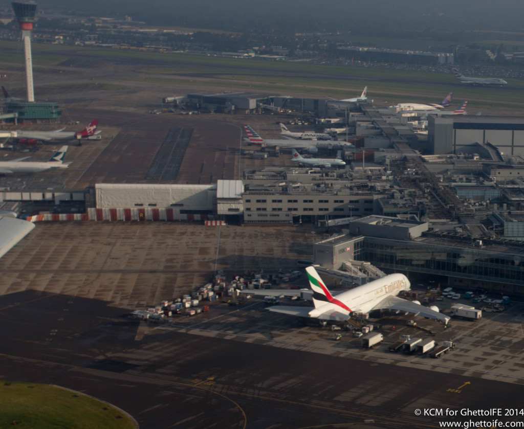Emirates Airbus A380 from above at Heathrow Airport The runway to the top of the picture was the target of the protests - Image Economy Class and Beyond