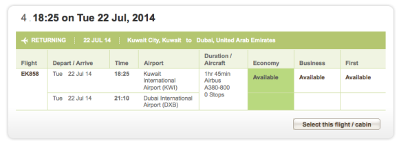 Emirates A380 KWI to DXB booking