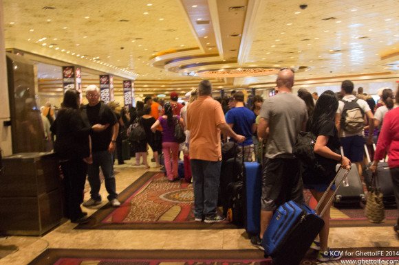 The queue to check out of the MGM
