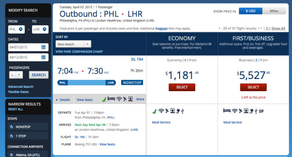 Delta PHL to LHR Route