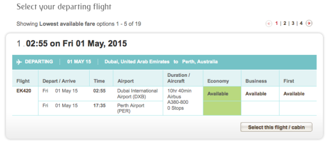 Emirates A380 operations to Perth