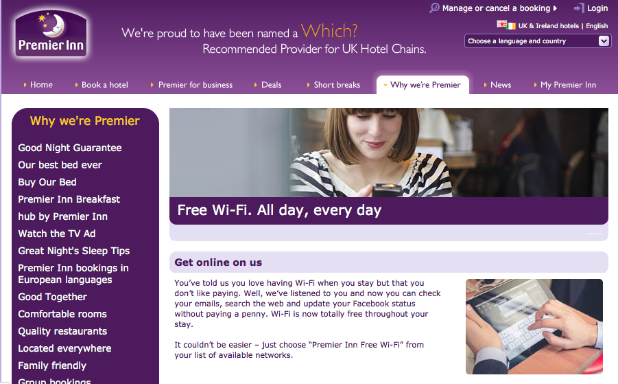 Low Cost Hotels continue the Free WiFi push - Premier Inn ...