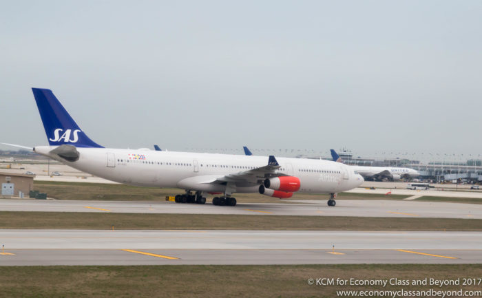 SAS Airbus A340-300 taxing at Chicago O'Hare International Airport - Image, Economy Class and Beyond