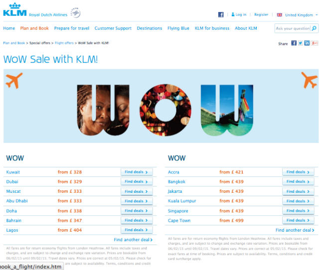 KLM Flash Sale
