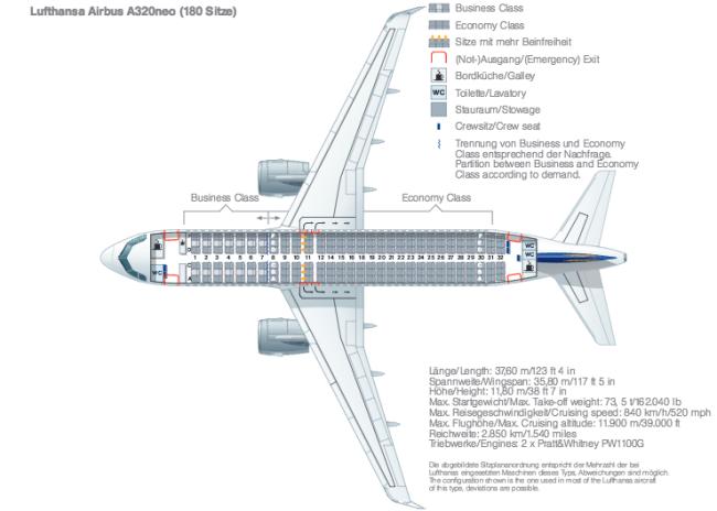 Lufthansa A320neo seat layout - Data - Lufthansa