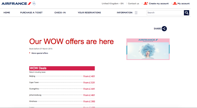 Air France WOW Offers