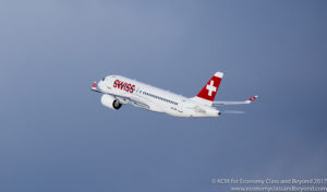 Swiss Bombardier C Series CS100 departing Zurich Airport - Image, Economy Class and Beyond