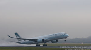 Cathay Pacific Airbus A350-900 departing Manchester - Image, Economy Class and Beyond