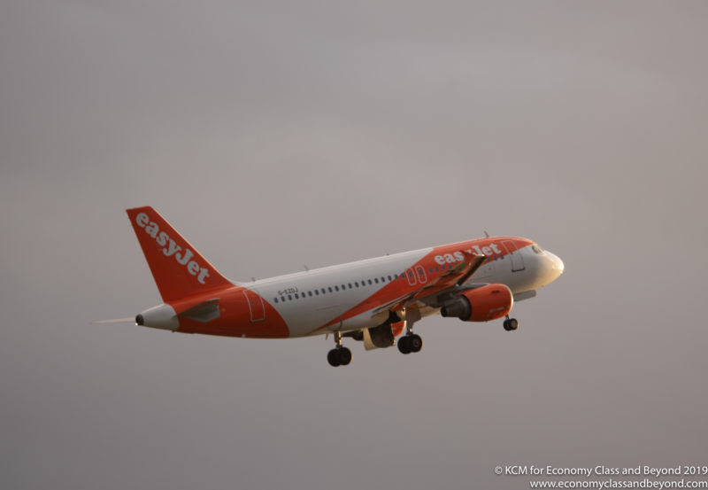 EasyJet Airbus A319 climbing out of Manchester Airport - Image, Economy Class and Beyond