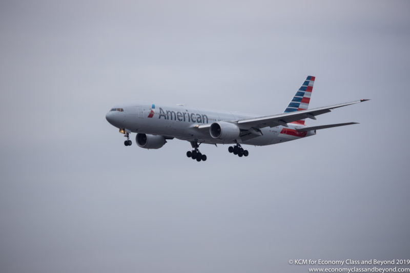 American Airlines Boeing 777-200ER arriving at London Heathrow