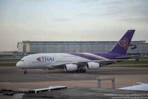 THAI Airways Airbus A380 taxing at Heathrow Airport - Image, Economy Class and Beyond