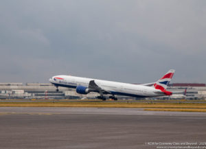 British Airways Boeing 777-300ER taking off from London Heathrow - Image, Economy Class and Beyond.